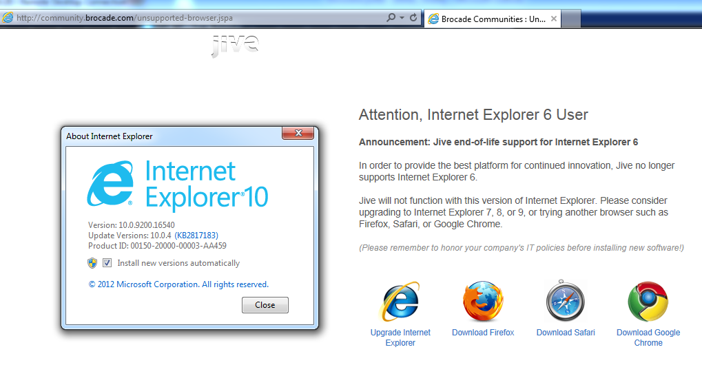 IE10 or IE 6