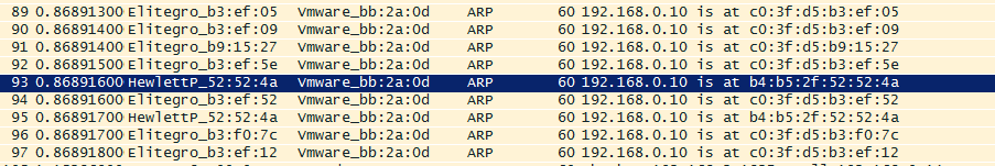 WireShark ARP conflict