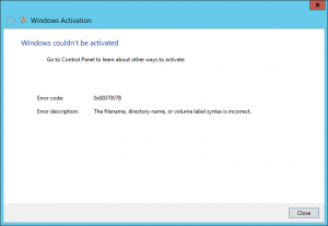 Windows Activation error