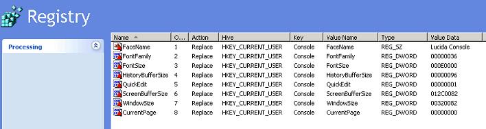 Console registry settings