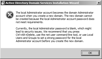 Local admin password empty
