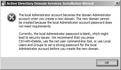 Local admin password empty