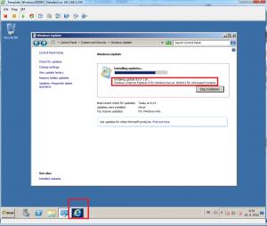 Internet Explorer installation under Windows Update window