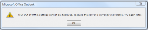 Out of office assistant error