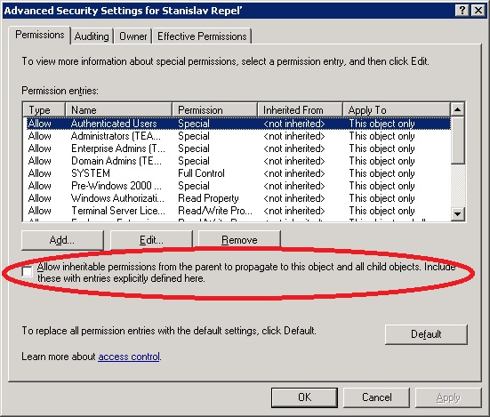 Advance security settings for user account