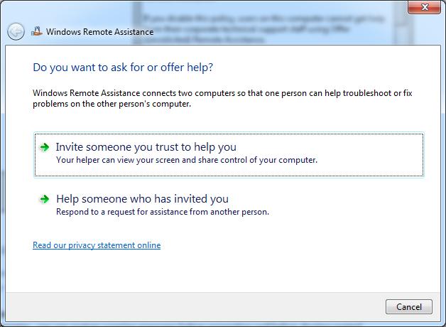 Run Windows Remote Assistance