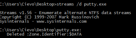 streams.exe /d putty.exe