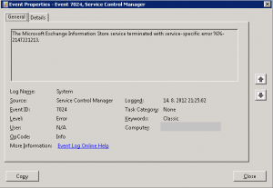The Microsoft Exchange Information Store service terminated with service-specific error %%-2137221213