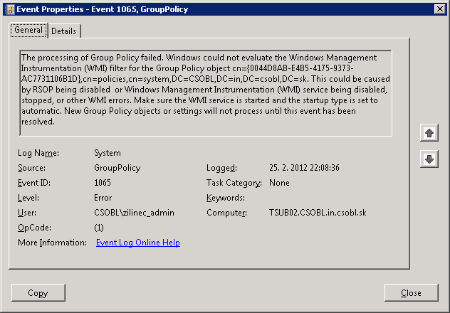 Event 1064 Group Policy