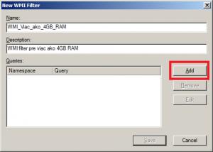 Nový WMI filter