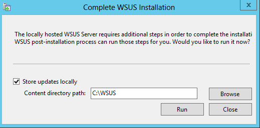 WSUS complete installation